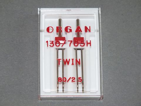 Kaksoisneula Organ Twin 130/705H, 80/2,5 mm, 2 kpl/pkt