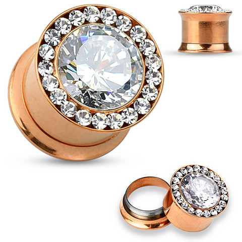 Plugi 10mm, Large Centered CZ in Rosegold