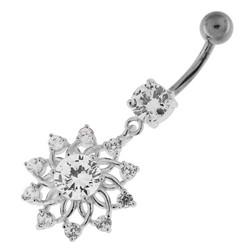 Hopeinen napakoru titaanivarrella, Kirkas kristalli, Snowflake Flower (9mm)
