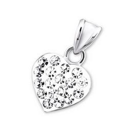 Hopeinen riipus, Sydän pienillä kristalleilla
