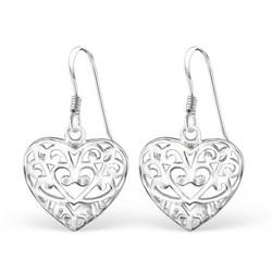 Hopeiset korvakorut, Romantic Lace Heart (pitsinen sydän)