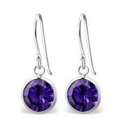 Hopeiset korvakorut, Kristalli (violetti)