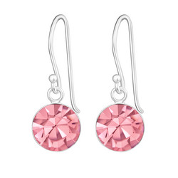 Hopeiset korvakorut, Pyöreä kristalli (vaaleanpunainen)