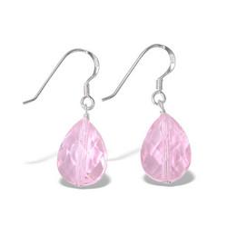 Hopeiset korvakorut, Pisaranmuotoinen kristalli (vaaleanpunainen)