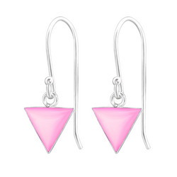 Hopeiset korvakorut, Small Triangle in Pink