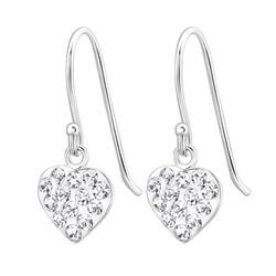 Hopeiset korvakorut, Small Flat Crystal Heart  (kirkas sydän)