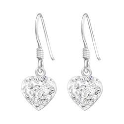 Hopeiset korvakorut, Small Round Crystal Heart  (kirkas sydän)