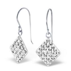 Hopeiset korvakorut, Crystal Diamond (kirkas kristalli)