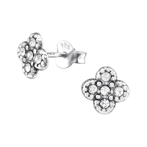 Hopeiset korvanapit, Antique Silver with Flower and Crystals