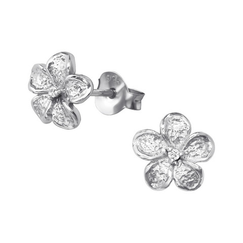 Hopeiset korvanapit, Simple Flower (Cubic Zirconia)