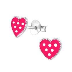 Hopeiset korvanapit, Pinkki sydän pilkuilla
