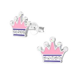 Hopeiset korvanapit, Vaaleanpunainen prinsessakruunu