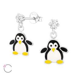 Hopeiset korvakorut, LA CRYSTALE,  Pingviini