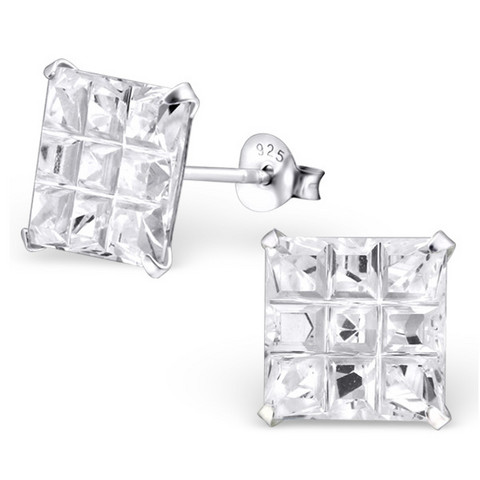 Hopeiset korvanapit, Large Classic with Diamond Cut (Cubic Zirconia)