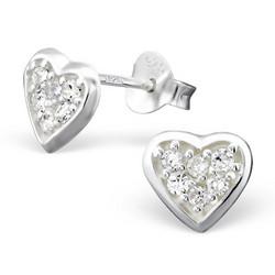 Hopeiset korvanapit, Sydän pienillä kristalleilla (Cubic Zirconia)