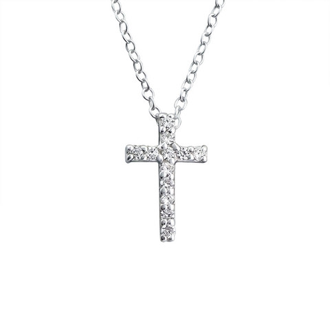 Hopeinen kaulakoru, Cross with Cubic Zirconia