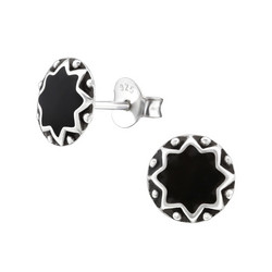 Hopeiset korvanapit, Antique Silver Star (hopeanappi mustalla keskustalla)