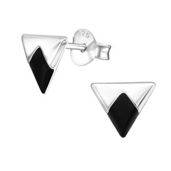 Hopeiset korvanapit, Small Triangle with Black Diamond