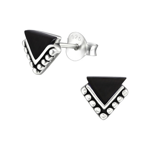 Hopeiset korvanapit, Antique Silver Basic Black Triangle (musta kolmio)