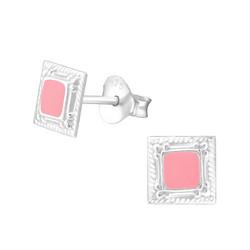 Hopeiset korvanapit, Square with Pink Centre (hopeaneliö vaaleanpunaisella keskustalla)