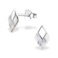 Hopeiset korvanapit, Small White Diamond (valkoinen timantti)
