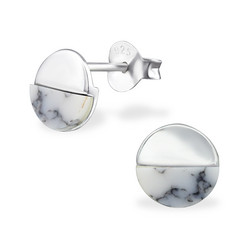 Hopeiset korvanapit, Half and Half in Marble & Silver
