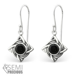 Hopeiset korvakorut, Antique Silver Square with Black Onyx (onyx luonnonkivi)