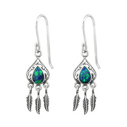 Hopeiset korvakorut, Antique Silver Dream Catcher in Peacock Blue