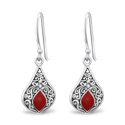 Hopeiset korvakorut, Antique Silver with Dark Red