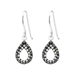 Hopeiset korvakorut, Teardrop in Black & Grey