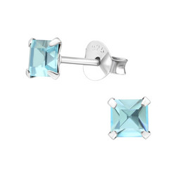 Hopeiset korvanapit, Basic Crystal Aqua Bohemica in 4mm (turkoosi neliö)