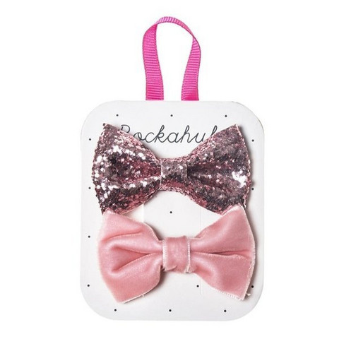 Hiuskoru/pinni, Rockahula KIDS|Velvet And Glitter Bow Clip Set Pink