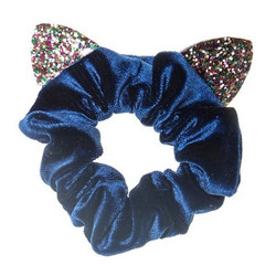 Hiuskoru/solki, Rockahula KIDS|Velvet Cat Ears Scrunchie Blue