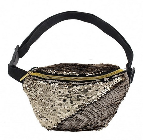 Vyölaukku, Bumbag Sequin (light gold/matt grey)