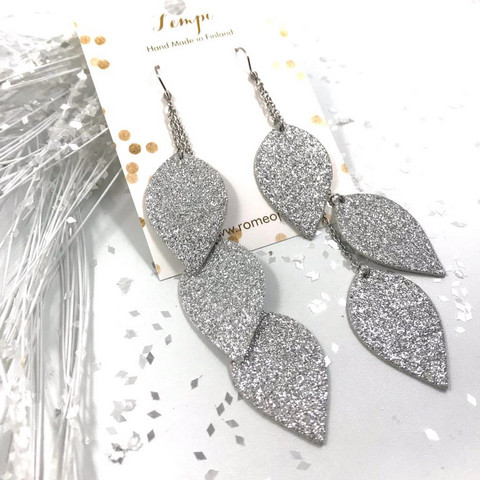 LEMPI-korvakorut, Lehdet (hopea glitter)