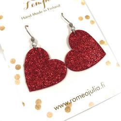 LEMPI-korvakorut, Lempi (yksiosainen,punainen glitter)