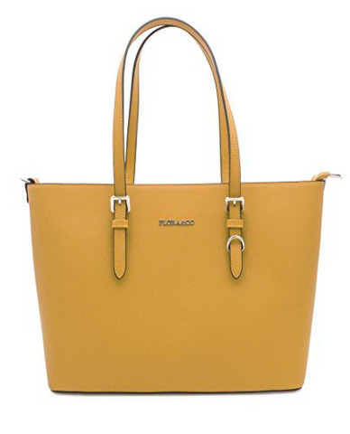 Laukku, Flora & Co|Large Mustard Yellow Womans Handbag (sinapinkeltainen käsilaukku)