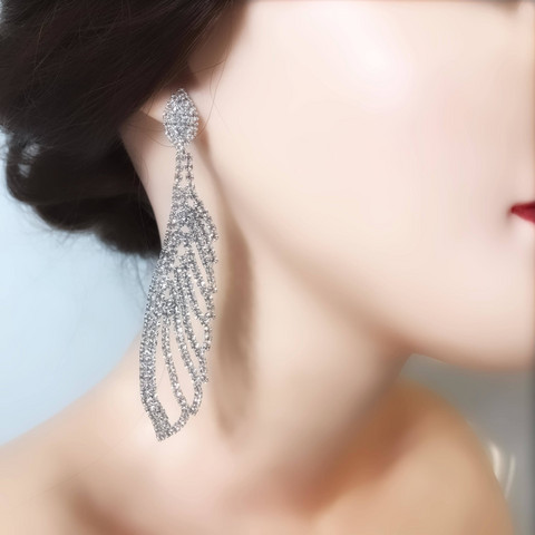 Strassikorvakorut, Long Strass  Feather Earring