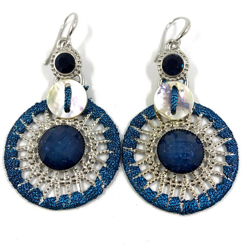 Korvakorut, Blue Lace Earrings with Silver Details (sininen pitsi)