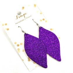 LEMPI-korvakorut, Ruusunlehti (violetti glitter)