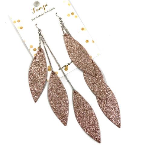 LEMPI-korvakorut, Laura (ruusukulta glitter, kolmiosainen)