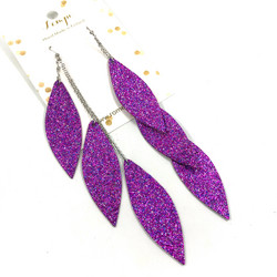 LEMPI-korvakorut, Laura (multicolor violetti glitter, kolmiosainen)