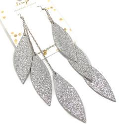 LEMPI-korvakorut, Laura (hopea glitter, kolmiosainen)