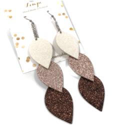 LEMPI-korvakorut, Lehdet (valkoinen-ruusukulta-ruskea glitter)