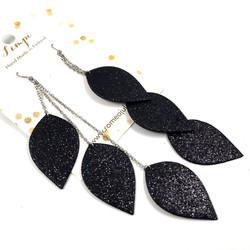 LEMPI-korvakorut, Lehdet (musta glitter, kolmiosainen)