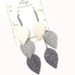 LEMPI-korvakorut, Lehdet (valkoinen, hopea, titaani glitter)