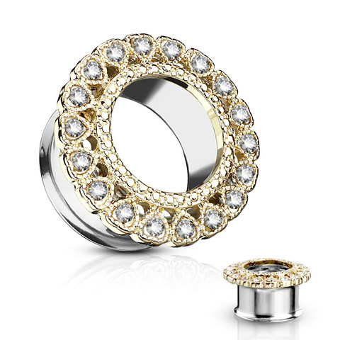Tunneli 10mm, Gemmed Heart Circular Array Front in Gold