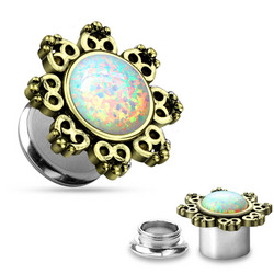 Plugi 8mm, Lotus Flower with Opal Center