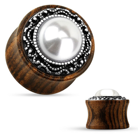 Plugi 8mm, Tribal Pattern Casting around Imitation Pearl Center Organic Wood