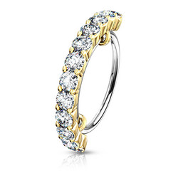 Lävistysrengas, Half Circle Lined CZ Bendable Hoop Ring in Gold 0,8mm/8mm